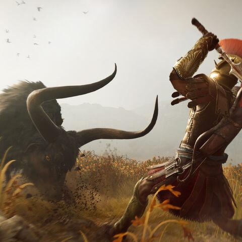 公牛与<i>佣兵</i>对战的宣传图