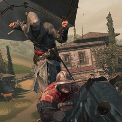Ezio assassinating a guard from a parachute