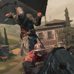 埃齐奥从降落伞上刺杀一名守卫