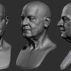 年老的德·拉塞尔头部模型