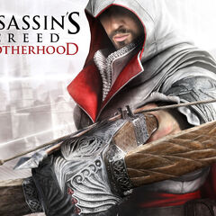 Promotional image of Ezio with a crossbow