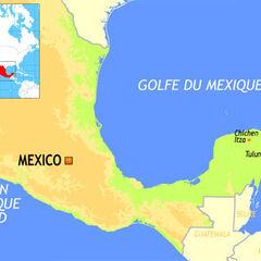 Le <b>Mexique</b> avec la péninsule du Yucatán