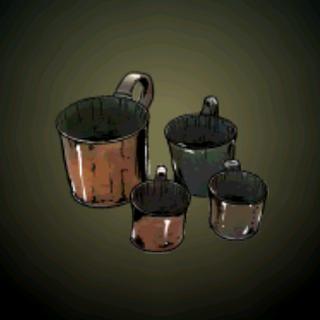 酒精杯 – 英国皇家海军莱姆酒杯或铜杯,有1夸脱、1品脱与2又½品脱杯。