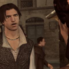Ezio n'appréciant pas les allusions de sa mère