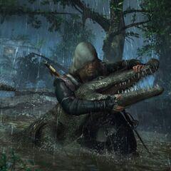 爱德华与鳄鱼缠斗