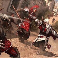 Ezio combattant à la dague et au couteau de lancer