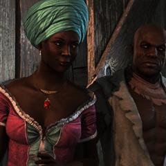 巴斯蒂安娜和阿德瓦莱等待一队负责运货的奴隶