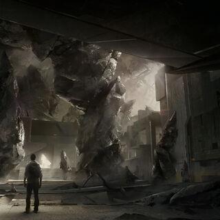 Concept art van Desmond Miles in de Grote Tempel.