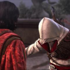 Ezio stelt zichzelf voor aan Copernicus.