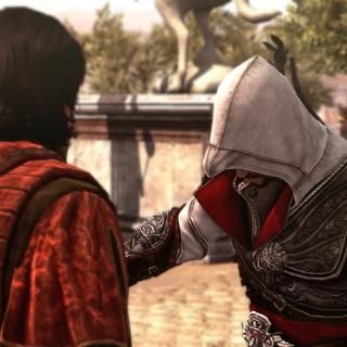 Ezio introducing himself to Copernicus