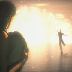 Een vrouw die kijkt naar een explosie.