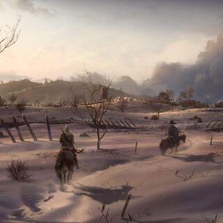 华盛顿与康纳骑马穿过开拓地的概念图