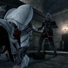 Ezio sluit de snelle wachter in op de markt.