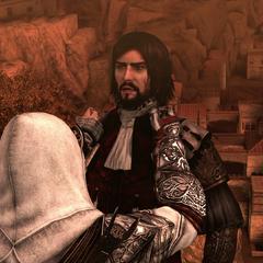 Ezio jetant Cesare du haut des remparts