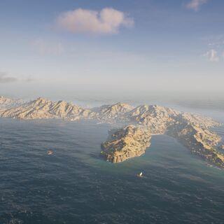 从西部高空俯瞰克里特岛