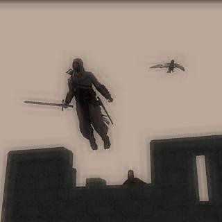 阿泰尔从城堡上用信仰之跃逃走