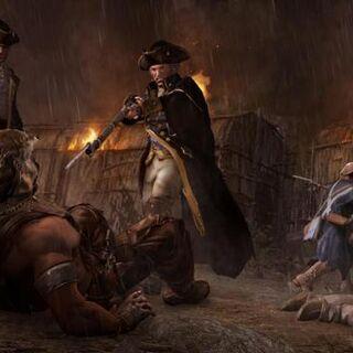 Washington bedroht Connor. Im Hintergrund Benedict Arnold