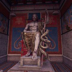 阿斯克勒庇俄斯手持蛇杖的塑像