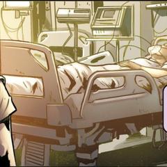 年轻的夏洛特在医院看望舅舅