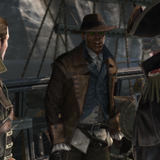 威克斯与乔治·门罗在摩莉甘号上谈话