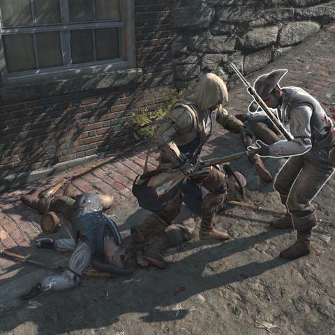 康纳用刺刀刺向一个大陆军士兵