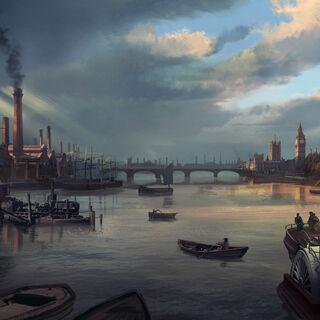 泰晤士河原画