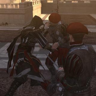 Ezio affrontant les gardes à l'extérieur de la chapelle