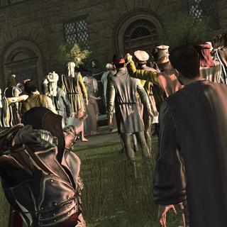 Ezio désarmant Savonarola d'un lancer de couteau