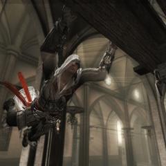 Ezio sautant de poutre en poutre