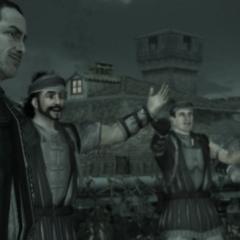 Mario et ses mercenaires acclamant Ezio