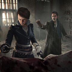 伊薇视察一位开膛手的受害者