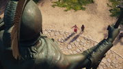 ACOD Kassandra and Myrrine pay respect to the late King Leonidas