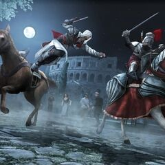 Ezio assassinant un garde Borgia depuis son cheval