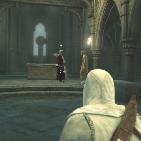Altaïr spot de twee kooplieden.