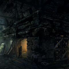 Concept art de l'intérieur des ruines
