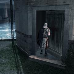 Ezio pénétrant dans la cale sèche