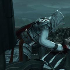 Ezio passant sa colère sur le corps de Vieri