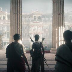 Cassius, Aya et Brutus arrivant dans le théâtre de Pompée