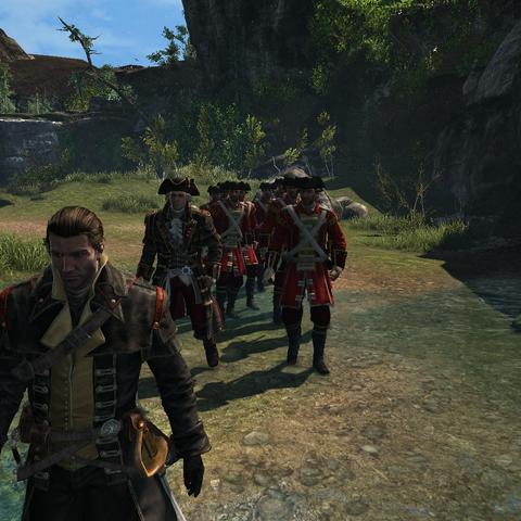 Shay escortant Monro et ses hommes à travers le <b>Marais Rocheux</b>