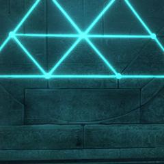 Een deel van de gelijkzijdige driehoek is zichtbaar op de ingang van de kelder.