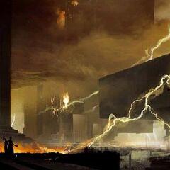 Concept art van de Toba-catastrofe door <a class=