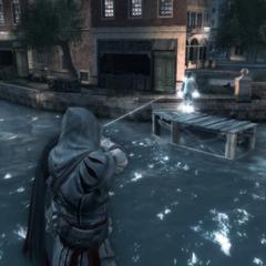 Ezio s'entraînant à tirer au pistolet