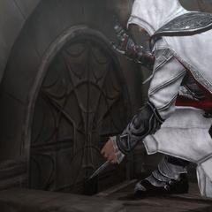 埃齐奥·奥迪托雷使用袖剑解锁一个秘密入口