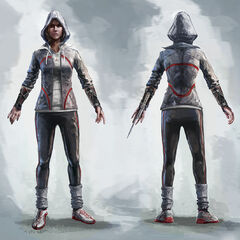 Concept art of Galina with her hood
