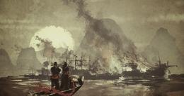 Shao obserwuje płonący port