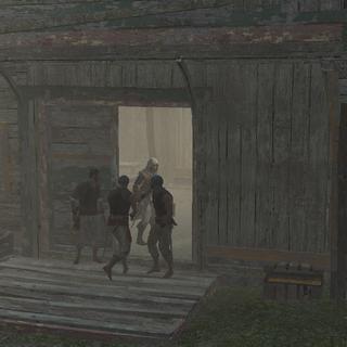 爱德华让他的船员们进入仓库