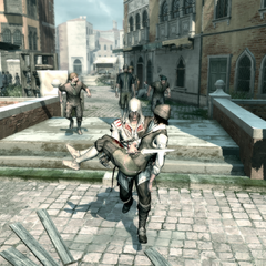 Ezio carrying an injured Rosa