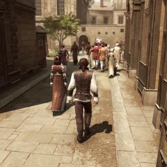 Ezio accompagnant sa mère à l'atelier