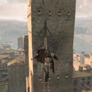 Ezio se frayant un chemin vers le sommet de la tour