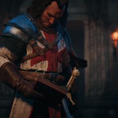 Le conseiller récupérant le Codex du Grand Maître et l'Épée d'Éden